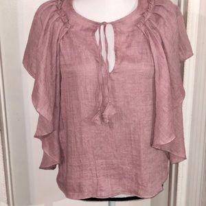 MISA Los Angeles Boho tassel ruffle blouse